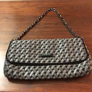Talbots Black Silver and Gray Weave Purse